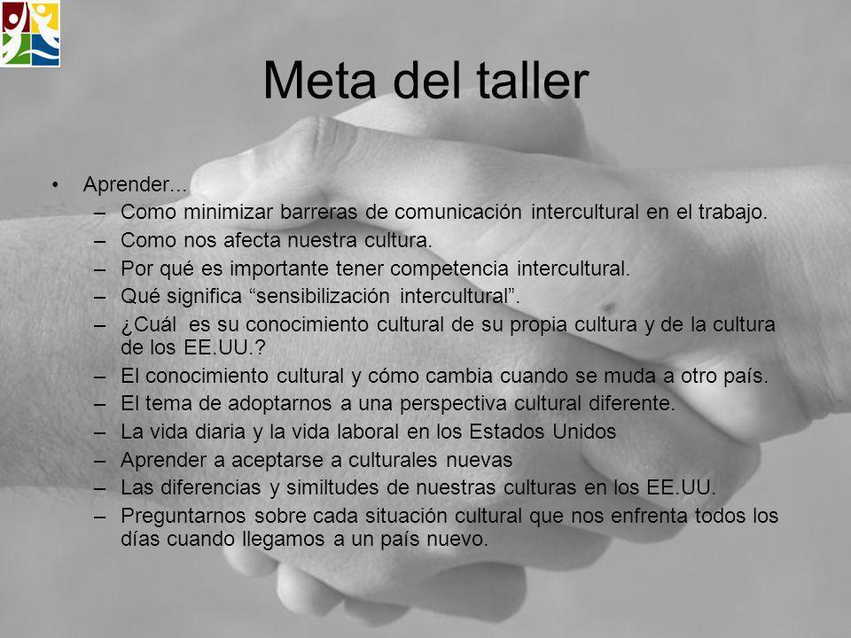 Meta del taller Aprender... –Como minimizar barreras de comunicación intercultural en el trabajo. –Como nos afecta nuestra cultura. –Por qué es import