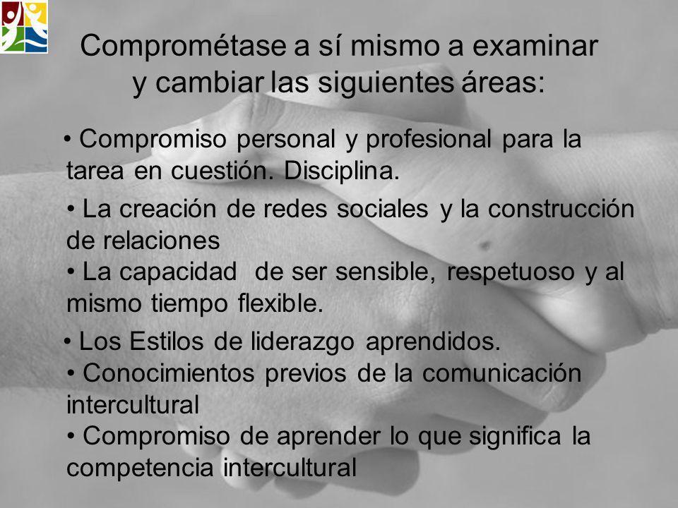 Comprométase a sí mismo a examinar y cambiar las siguientes áreas: Compromiso personal y profesional para la tarea en cuestión. Disciplina. La creació