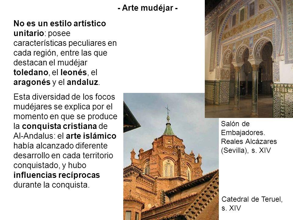 No es un estilo artístico unitario: posee características peculiares en cada región, entre las que destacan el mudéjar toledano, el leonés, el aragoné