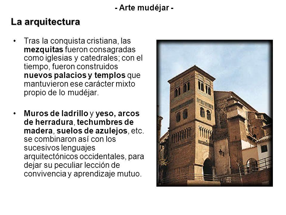 Tras la conquista cristiana, las mezquitas fueron consagradas como iglesias y catedrales; con el tiempo, fueron construidos nuevos palacios y templos