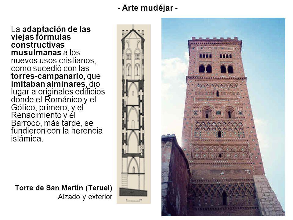 Torre de San Martín (Teruel) Alzado y exterior La adaptación de las viejas fórmulas constructivas musulmanas a los nuevos usos cristianos, como sucedi