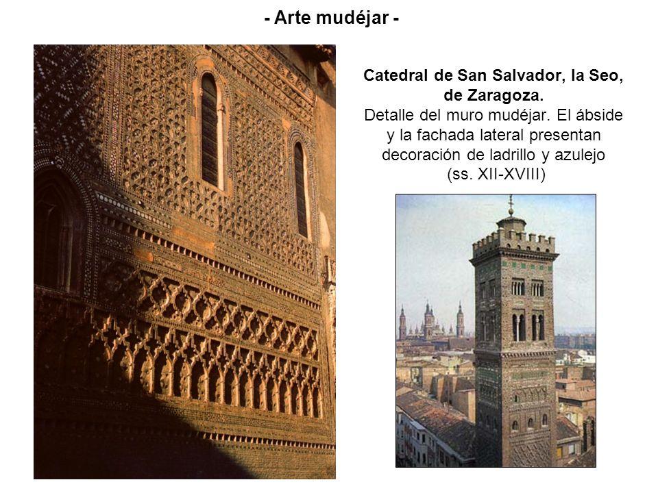 Catedral de San Salvador, la Seo, de Zaragoza. Detalle del muro mudéjar. El ábside y la fachada lateral presentan decoración de ladrillo y azulejo (ss