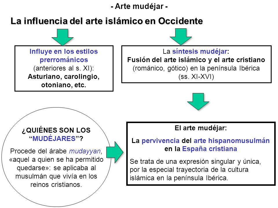 La influencia del arte islámico en Occidente Influye en los estilos prerrománicos (anteriores al s. XI): Asturiano, carolingio, otoniano, etc. La sínt