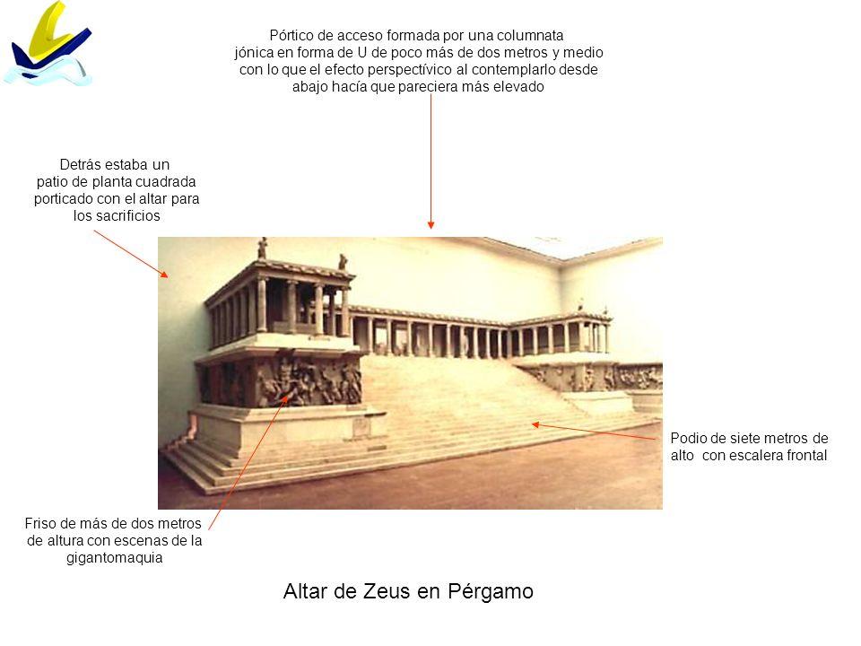 Altar de Zeus en Pérgamo Podio de siete metros de alto con escalera frontal Friso de más de dos metros de altura con escenas de la gigantomaquia Pórti