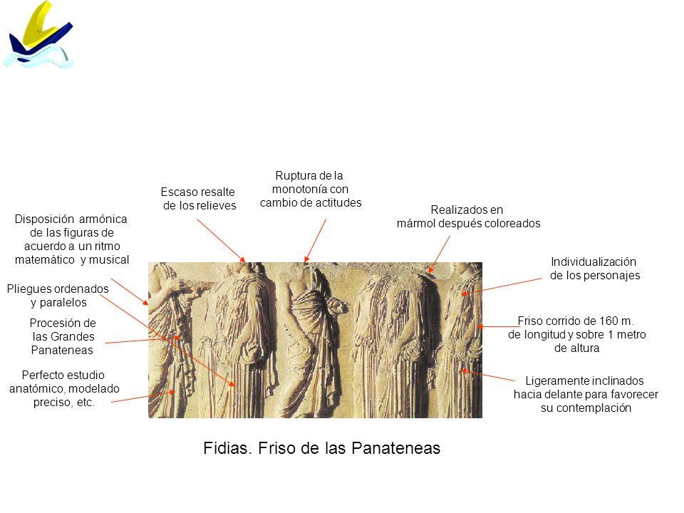 Fidias. Friso de las Panateneas Friso corrido de 160 m. de longitud y sobre 1 metro de altura Ruptura de la monotonía con cambio de actitudes Realizad