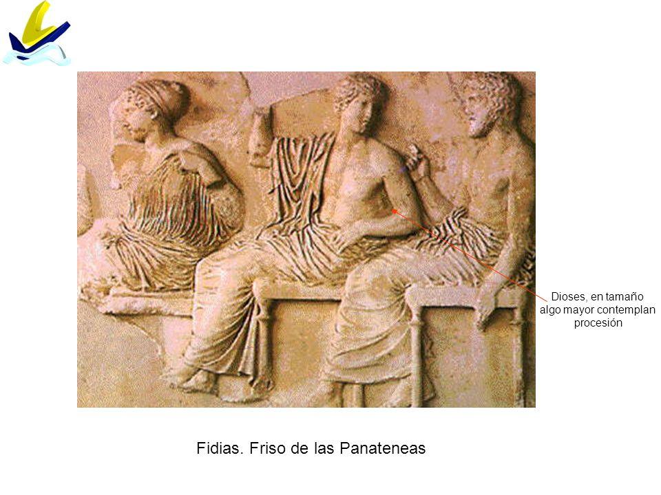 Fidias. Friso de las Panateneas Dioses, en tamaño algo mayor contemplan procesión