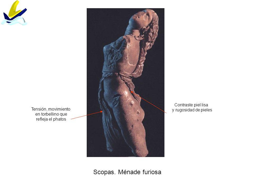 Scopas. Ménade furiosa Tensión, movimiento en torbellino que refleja el phatos Contraste piel lisa y rugosidad de pieles