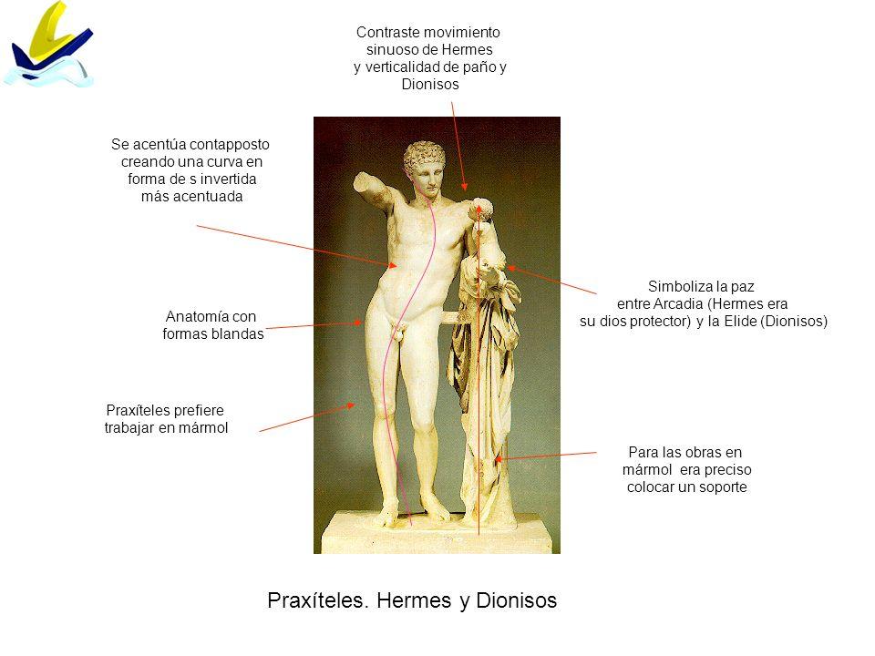 Praxíteles. Hermes y Dionisos Se acentúa contapposto creando una curva en forma de s invertida más acentuada Contraste movimiento sinuoso de Hermes y