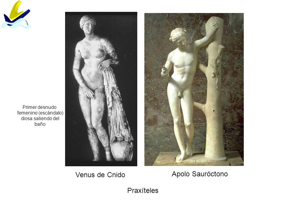 Venus de Cnido Apolo Sauróctono Praxíteles Primer desnudo femenino (escándalo) diosa saliendo del baño