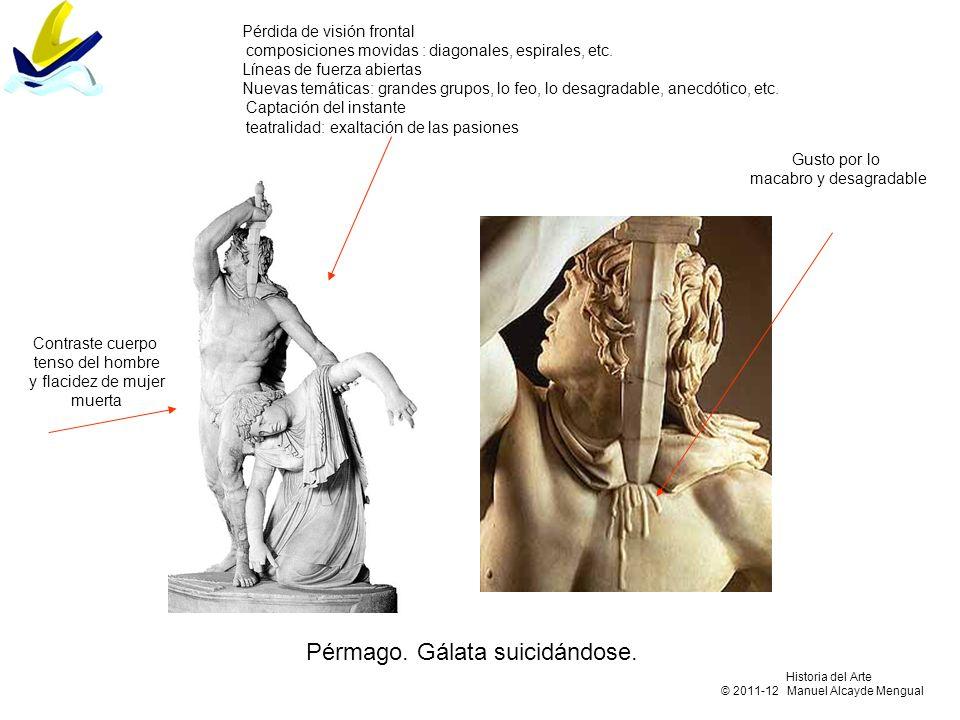 Pérmago. Gálata suicidándose. Pérdida de visión frontal composiciones movidas : diagonales, espirales, etc. Líneas de fuerza abiertas Nuevas temáticas