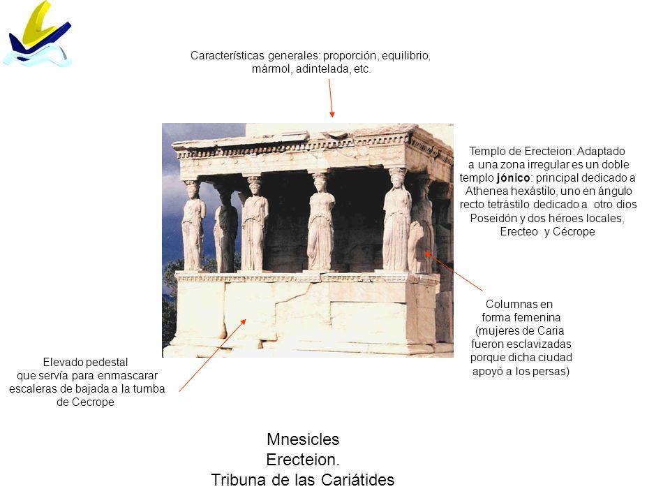Mnesicles Erecteion. Tribuna de las Cariátides Columnas en forma femenina (mujeres de Caria fueron esclavizadas porque dicha ciudad apoyó a los persas