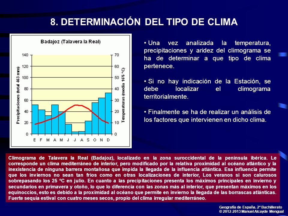 8. DETERMINACIÓN DEL TIPO DE CLIMA Una vez analizada la temperatura, precipitaciones y aridez del climograma se ha de determinar a que tipo de clima p