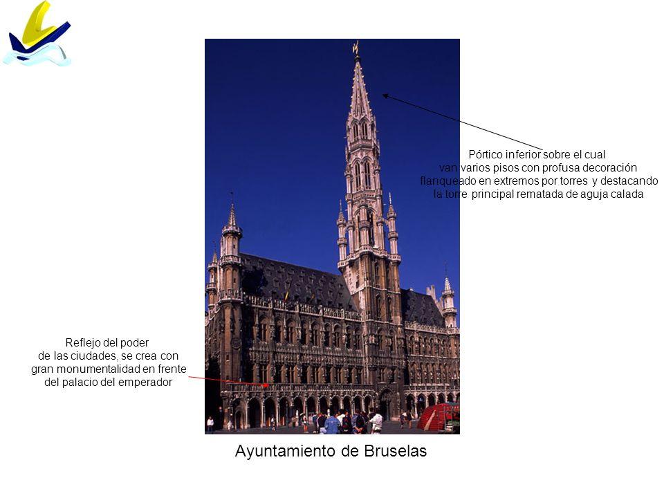 Ayuntamiento de Bruselas Reflejo del poder de las ciudades, se crea con gran monumentalidad en frente del palacio del emperador Pórtico inferior sobre