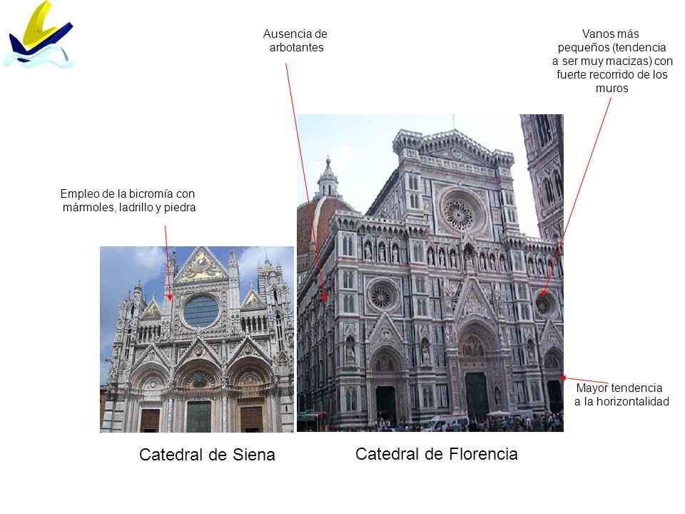 Catedral de Siena Catedral de Florencia Mayor tendencia a la horizontalidad Vanos más pequeños (tendencia a ser muy macizas) con fuerte recorrido de l
