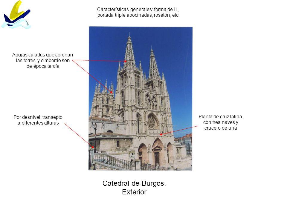 Catedral de Burgos. Exterior Por desnivel, transepto a diferentes alturas Características generales: forma de H, portada triple abocinadas, rosetón, e