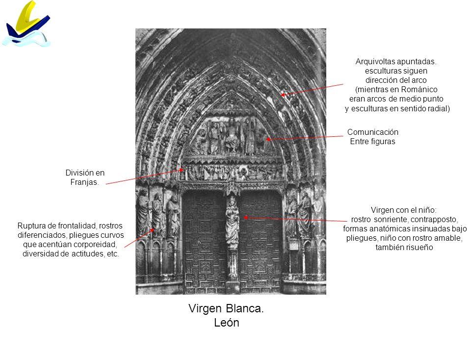 Virgen Blanca. León División en Franjas. Comunicación Entre figuras Arquivoltas apuntadas. esculturas siguen dirección del arco (mientras en Románico