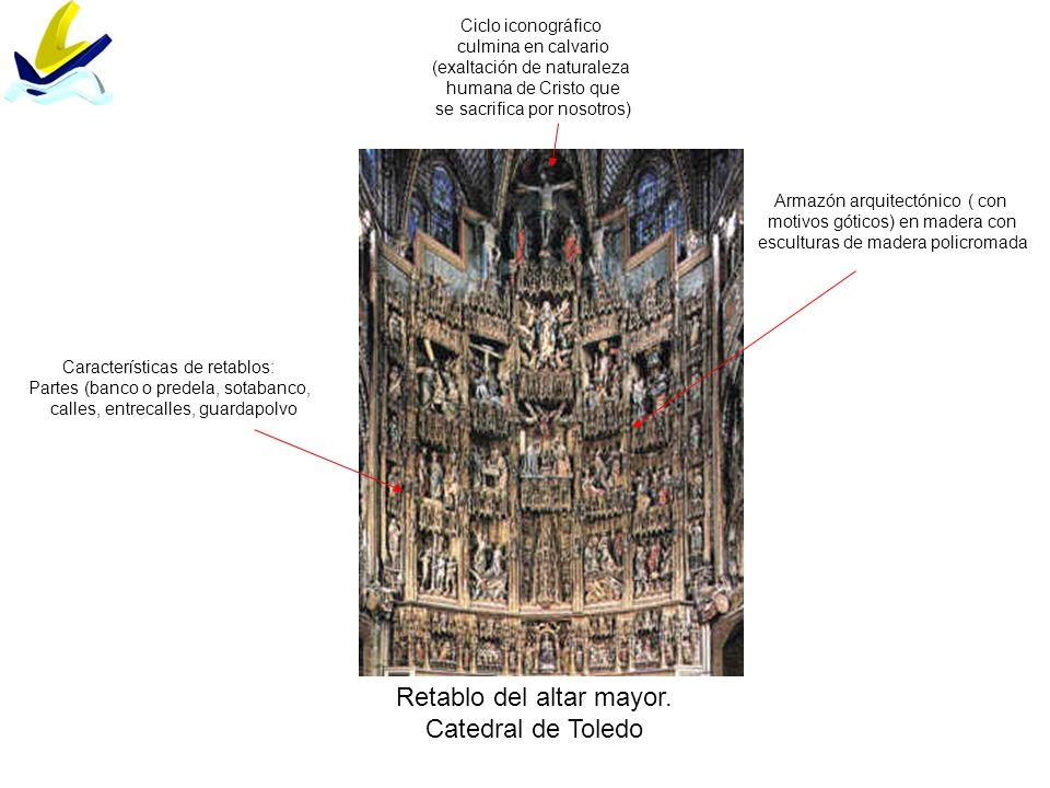 Retablo del altar mayor. Catedral de Toledo Características de retablos: Partes (banco o predela, sotabanco, calles, entrecalles, guardapolvo Armazón