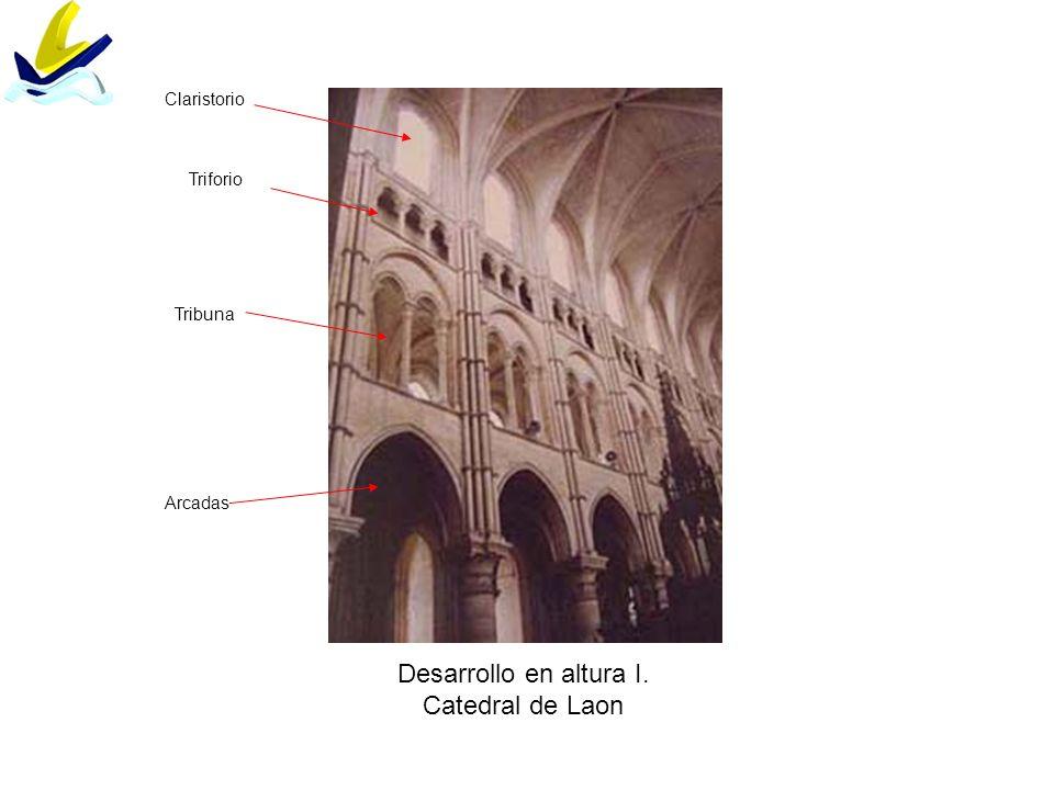 Desarrollo en altura I. Catedral de Laon Arcadas Tribuna Triforio Claristorio