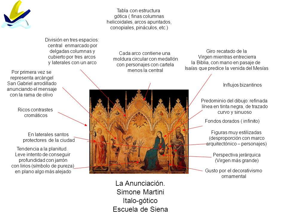 La Anunciación. Simone Martini Italo-gótico Escuela de Siena Figuras muy estilizadas (desproporción con marco arquitectónico – personajes) Influjos bi