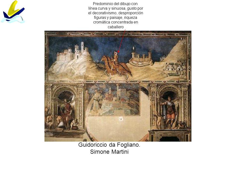 Guidoriccio da Fogliano. Simone Martini Predominio del dibujo con línea curva y sinuosa, gusto por el decorativismo, desproporción figuras y paisaje,