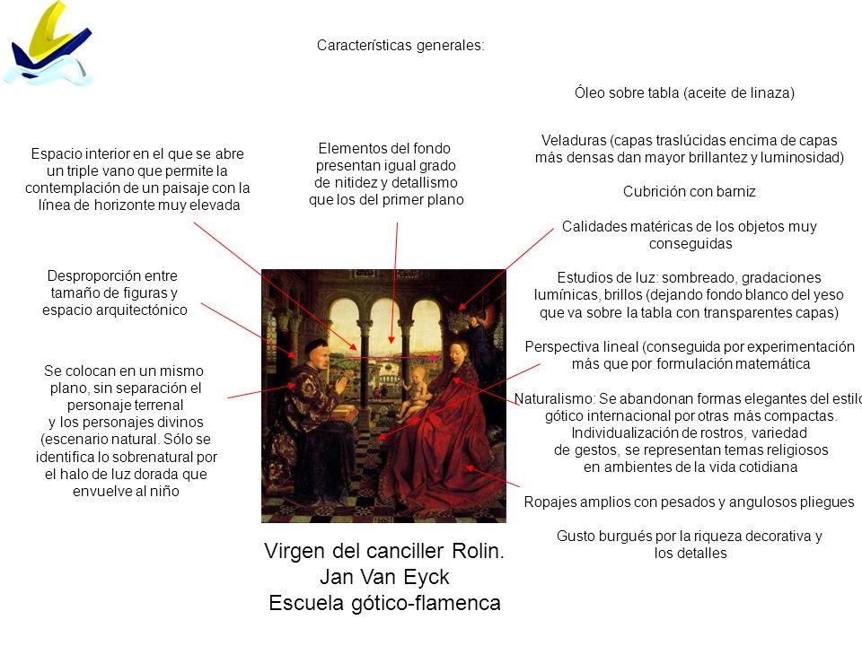 Virgen del canciller Rolin. Jan Van Eyck Escuela gótico-flamenca Características generales: Óleo sobre tabla (aceite de linaza) Veladuras (capas trasl