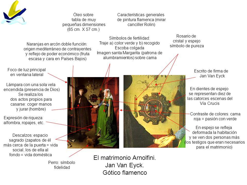 El matrimonio Arnolfini. Jan Van Eyck. Gótico flamenco Descalzos: espacio sagrado (zapatos de él más cerca de la puerta = vida social, los de ella al