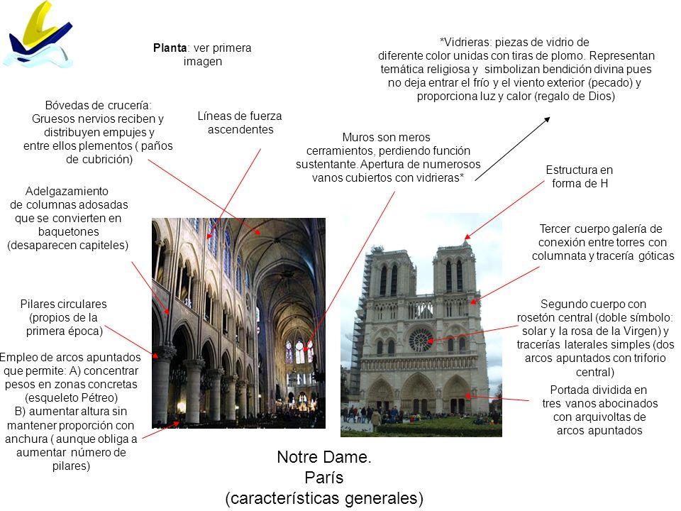 Notre Dame. París (características generales) Pilares circulares (propios de la primera época) Portada dividida en tres vanos abocinados con arquivolt