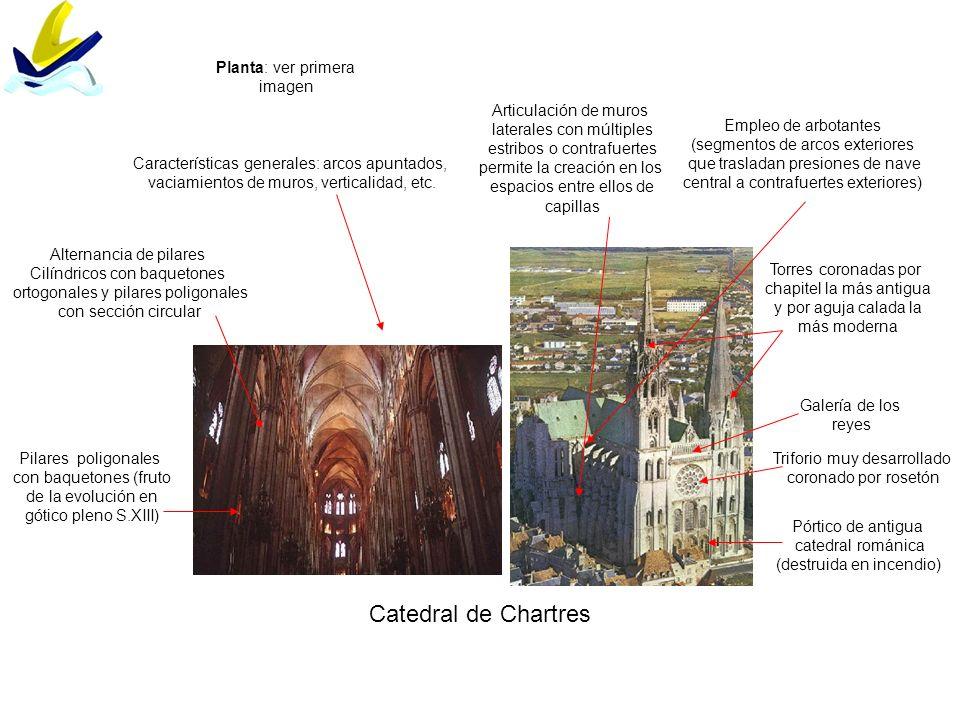 Catedral de Chartres Pilares poligonales con baquetones (fruto de la evolución en gótico pleno S.XIII) Características generales: arcos apuntados, vac