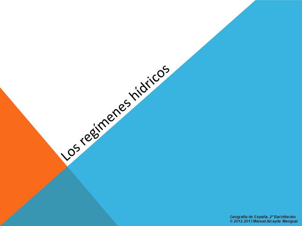 Los regímenes hídricos en España Régimen PLUVIAL MEDITERRÁNEO SUBTROPICAL O MERIDIONAL: en ríos que discurren por el dominio climático mediterráneo marítimo meridional y por el mediterráneo extremeño o del bajo Guadalquivir.