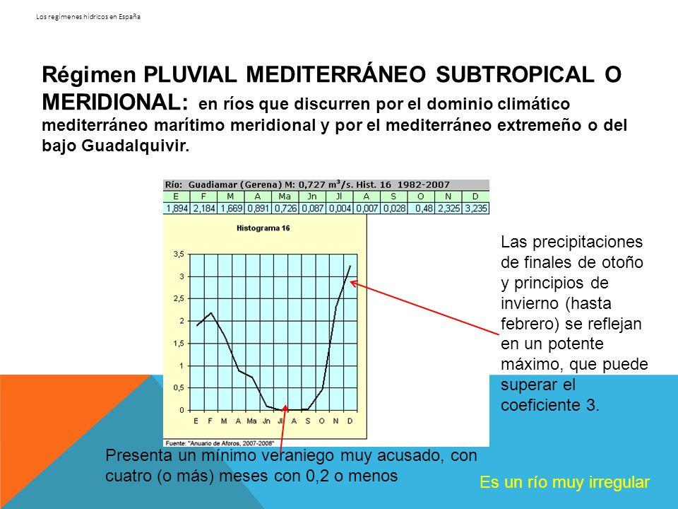 Los regímenes hídricos en España Régimen PLUVIAL MEDITERRÁNEO SUBTROPICAL O MERIDIONAL: en ríos que discurren por el dominio climático mediterráneo ma