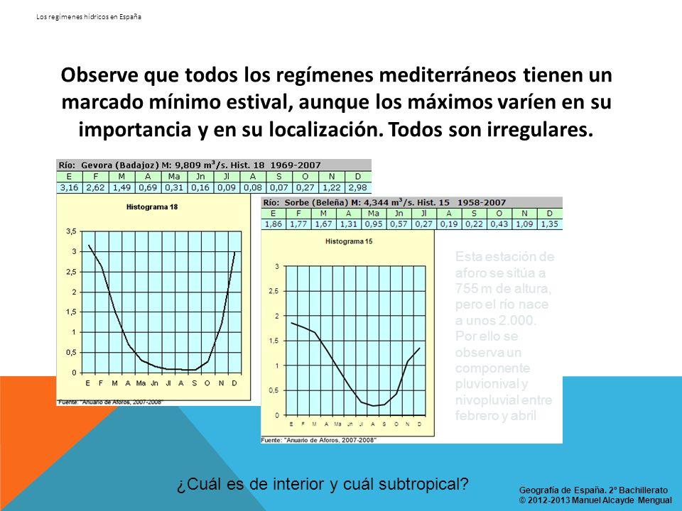 Los regímenes hídricos en España Observe que todos los regímenes mediterráneos tienen un marcado mínimo estival, aunque los máximos varíen en su impor