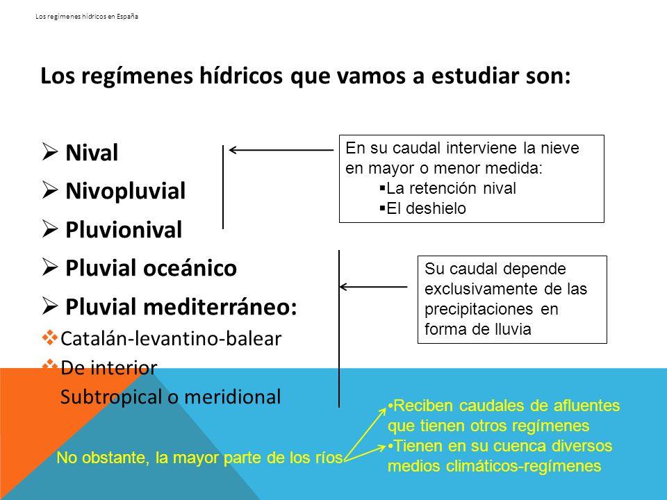 Los regímenes hídricos en España Los regímenes hídricos que vamos a estudiar son: Nival Nivopluvial Pluvionival Pluvial oceánico Pluvial mediterráneo:
