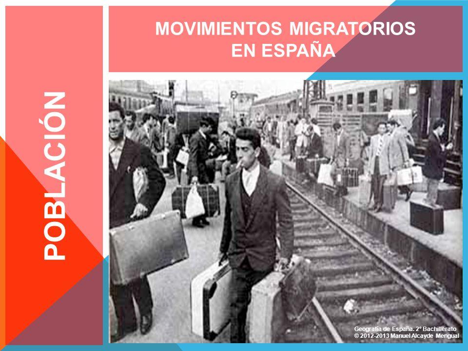 POBLACIÓN MOVIMIENTOS MIGRATORIOS EN ESPAÑA Fuente: Banco de Imágenes CNICE Geografía de España. 2º Bachillerato © 2012-2013 Manuel Alcayde Mengual