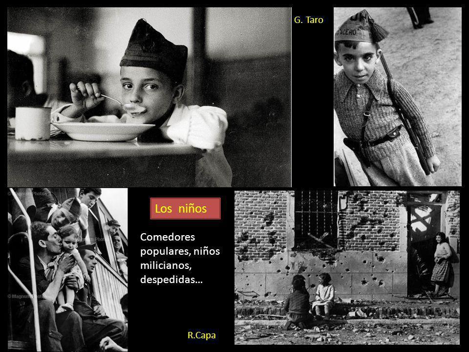 G. Taro. Niños jugando en las trincheras urbanas de Barcelona Gerda Taro, aunque también reflejó los combates, se centró más en los aspectos de la vid