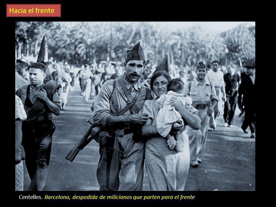 Los preparativos para el combate G. Taro. Movilización popular en un pueblo aragonés R.Capa. Sin título Capa, cámara al hombro partiendo hacia el fren