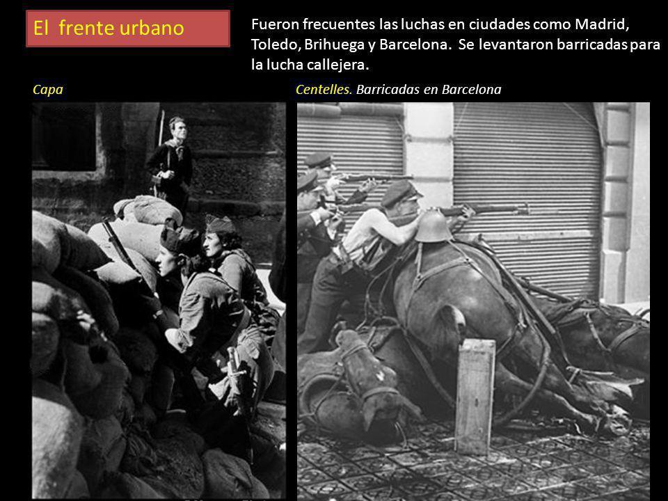En el frente En los primeros días de la guerra, los enfrentamientos tuvieron lugar en las ciudades. Autoridades y partidarios de ambos bandos luchaban