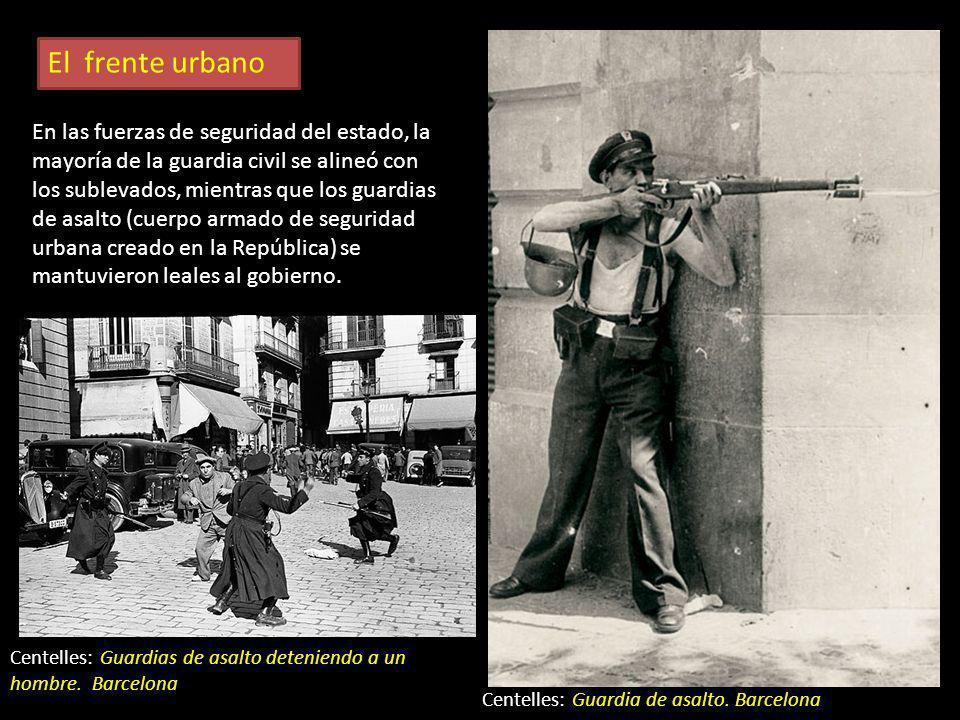 El frente urbano Fueron frecuentes las luchas en ciudades como Madrid, Toledo, Brihuega y Barcelona. Se levantaron barricadas para la lucha callejera.