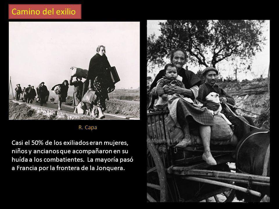 Camino del exilio R. Capa. Combatientes republicanos desarmados, adentrándose en Francia