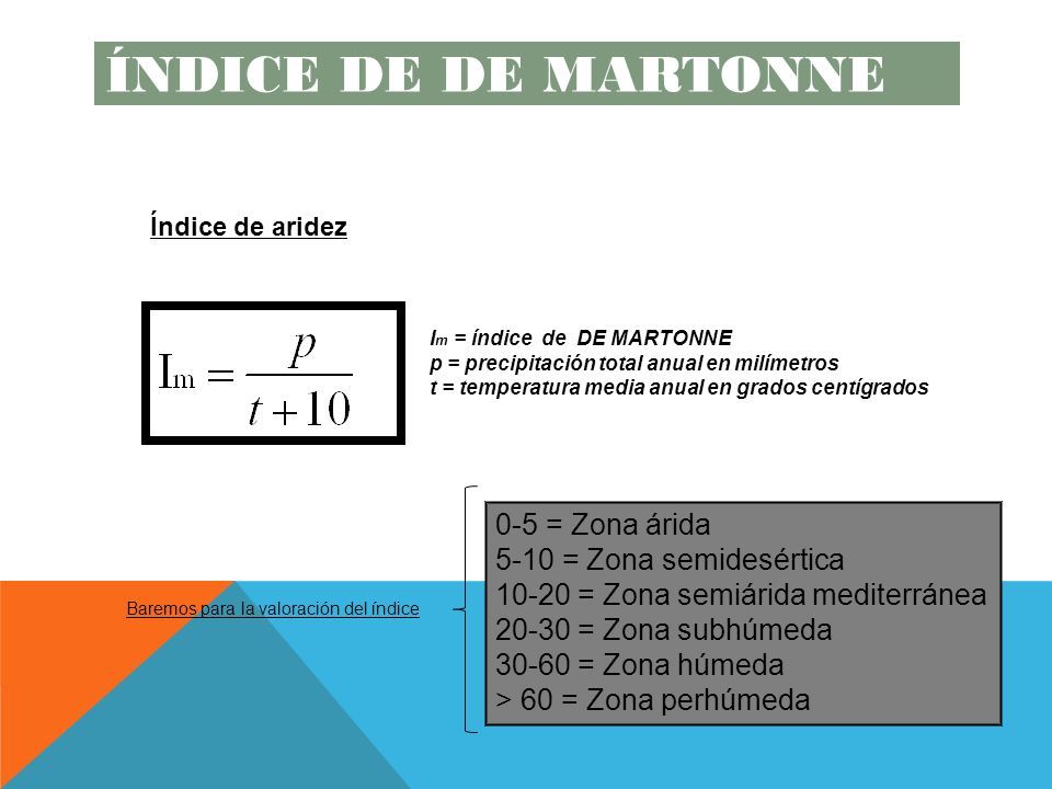 I m = índice de DE MARTONNE p = precipitación total anual en milímetros t = temperatura media anual en grados centígrados Baremos para la valoración del índice 0-5 = Zona árida 5-10 = Zona semidesértica 10-20 = Zona semiárida mediterránea 20-30 = Zona subhúmeda 30-60 = Zona húmeda > 60 = Zona perhúmeda Índice de aridez ÍNDICE DE DE MARTONNE