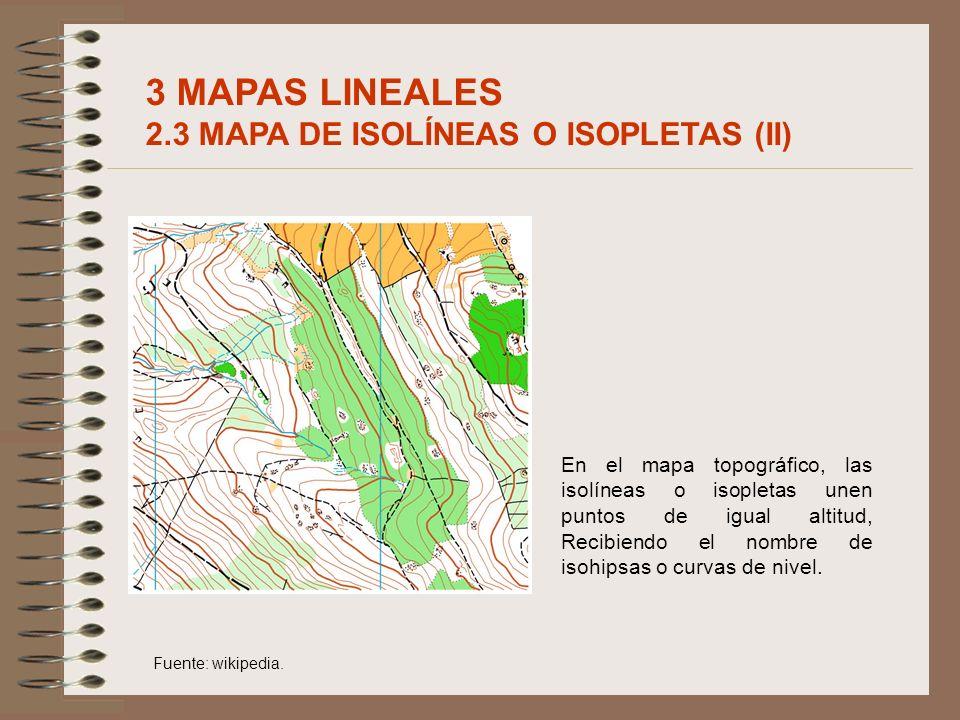 En el mapa topográfico, las isolíneas o isopletas unen puntos de igual altitud, Recibiendo el nombre de isohipsas o curvas de nivel. Fuente: wikipedia