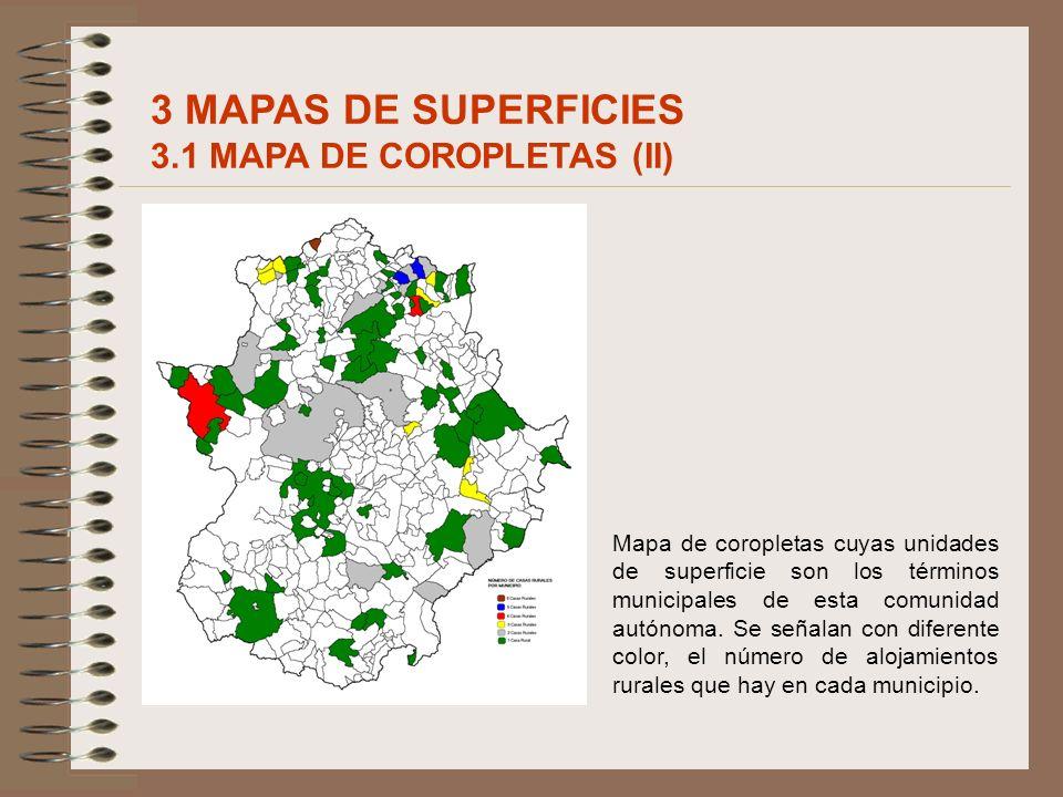 Mapa de coropletas cuyas unidades de superficie son los términos municipales de esta comunidad autónoma. Se señalan con diferente color, el número de