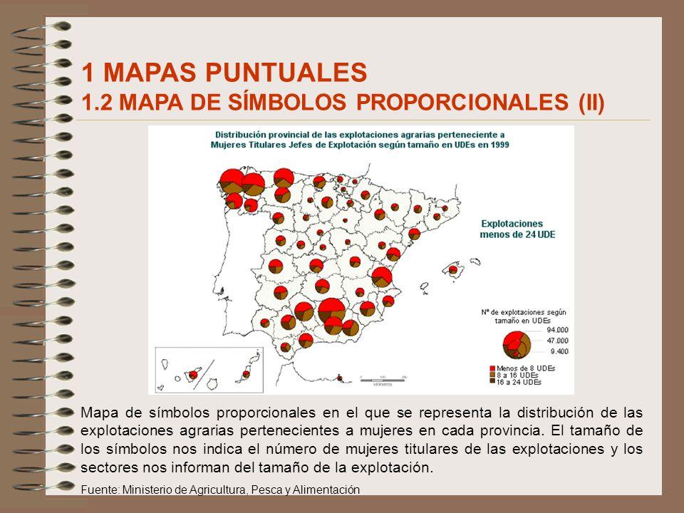 Mapa de símbolos proporcionales en el que se representa la distribución de las explotaciones agrarias pertenecientes a mujeres en cada provincia. El t