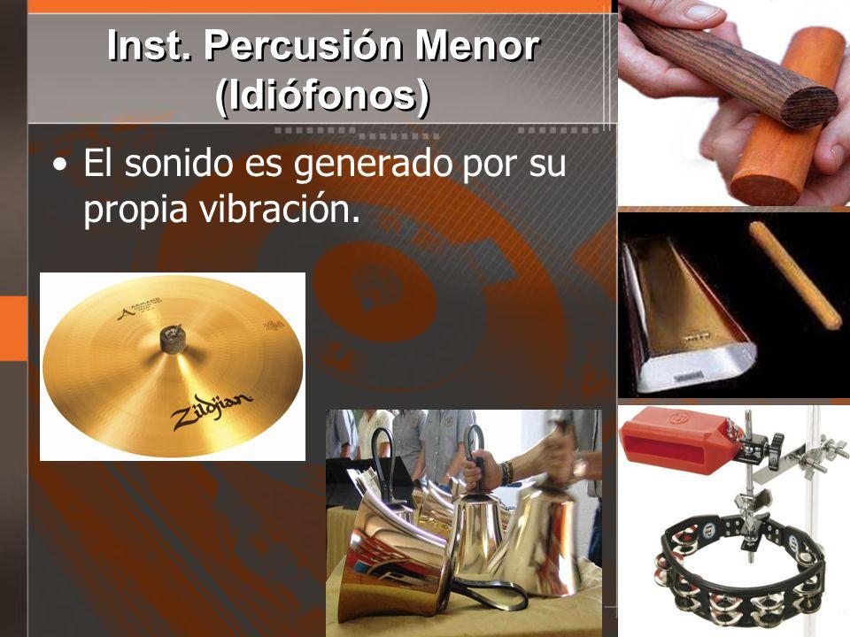 Inst. Percusión Menor (Idiófonos) El sonido es generado por su propia vibración.