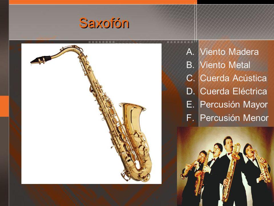 Saxofón A. Viento Madera B. Viento Metal C. Cuerda Acústica D. Cuerda Eléctrica E. Percusión Mayor F. Percusión Menor