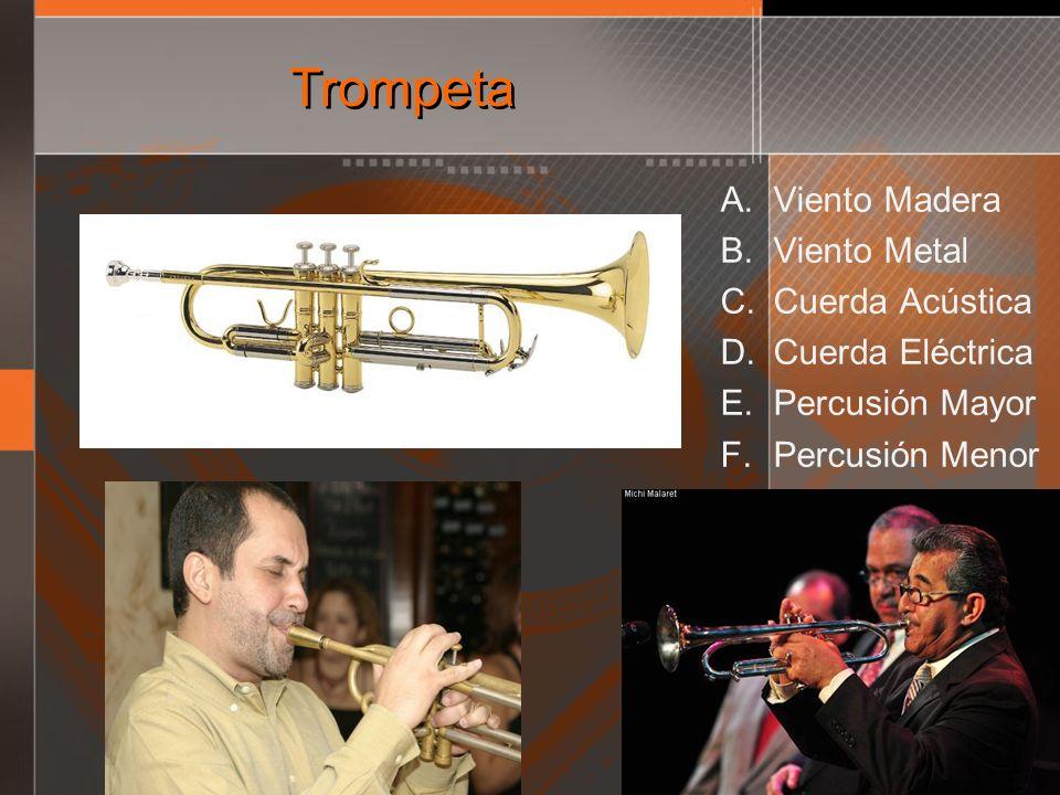 Trompeta A. Viento Madera B. Viento Metal C. Cuerda Acústica D. Cuerda Eléctrica E. Percusión Mayor F. Percusión Menor