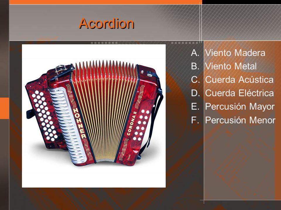 Acordion A. Viento Madera B. Viento Metal C. Cuerda Acústica D. Cuerda Eléctrica E. Percusión Mayor F. Percusión Menor