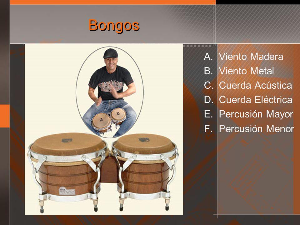 Bongos A. Viento Madera B. Viento Metal C. Cuerda Acústica D. Cuerda Eléctrica E. Percusión Mayor F. Percusión Menor