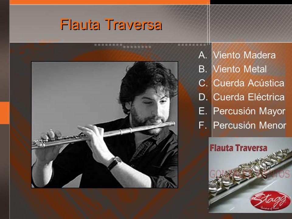 Flauta Traversa A. Viento Madera B. Viento Metal C. Cuerda Acústica D. Cuerda Eléctrica E. Percusión Mayor F. Percusión Menor