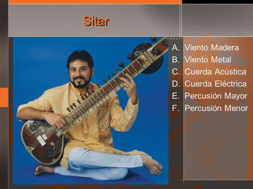 Sitar A. Viento Madera B. Viento Metal C. Cuerda Acústica D. Cuerda Eléctrica E. Percusión Mayor F. Percusión Menor