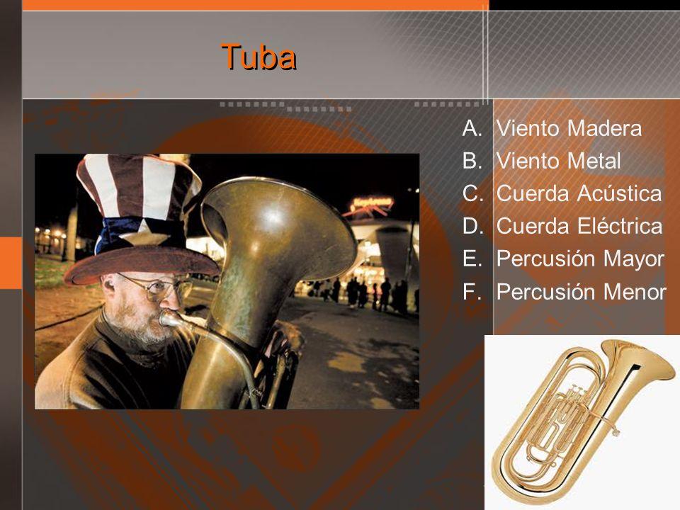 Tuba A. Viento Madera B. Viento Metal C. Cuerda Acústica D. Cuerda Eléctrica E. Percusión Mayor F. Percusión Menor